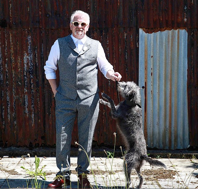 Local silversmith Mark Fenn, in Gibson London Suit, Kestin Hare shirt and Monokel sunglasses. Jewellery (and dog) model's own. ©James Marsh